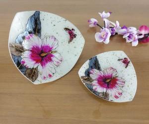 Dreickige Fusingschale mit Blüte