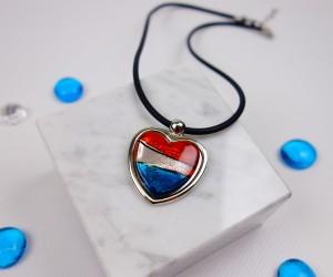 Glasschmuck Herz mit Metall