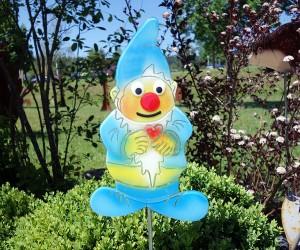 Blauer Gartenzwerg aus Glas
