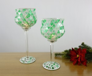 Leuchter aus Glas mit grünem Vintagemosaik