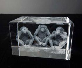 3D-Laserwürfel Drei Affen