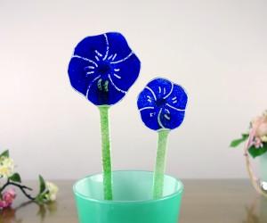 Blaue Fsuingglas Blume