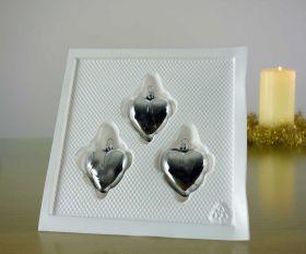 3 Herzen silber Baumschmuck