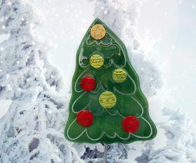 Fusingglas Weihnachtsbaum mit rot/gelben Kugeln