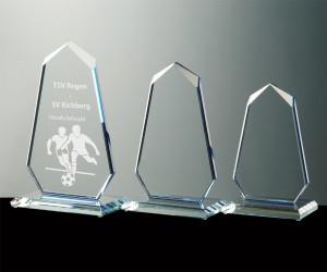 Flachglas Pokale blaue Serie