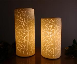 Deko-Leuchte Keramik mit Baumdekor