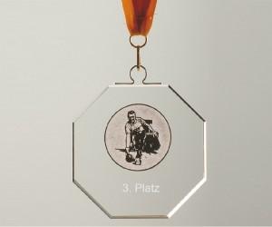 Medaille aus grünem Flachglas