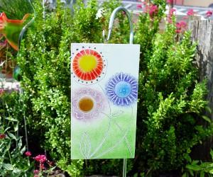 Glasschild Blumen