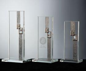 Flachglas Pokal mit edlen Dekor