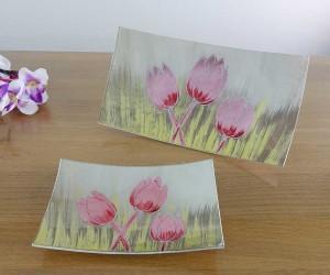 Fusingschale rechteckig mit Tulpen