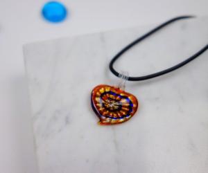 Kinder Halskette Herz orange