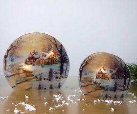 Teelichthalter Winterlandschaft rund