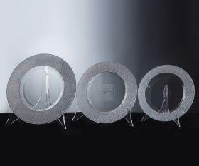 Kristallteller mit Silber Dekor