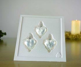 3 Herzen Eislack weiß Baumschmuck
