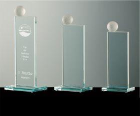 Golfpokale Flachglas mit mattiertem Golfball