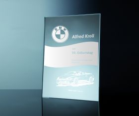 Spiegelglas-Urkunde 42x30cm inkl. Textgravur
