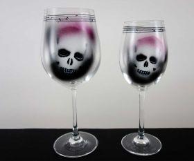 Paint Skull Weinglas