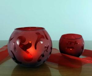 Rot satiniertes Windlicht