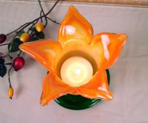 Blütenteelichthalter gelb