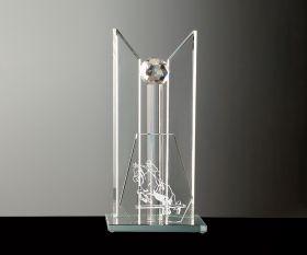 Flachglas Pokal auf Glasstehle