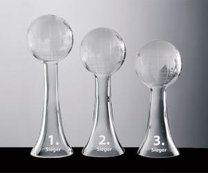 Weltkugel Trophäenserie aus Kristallglas