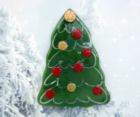 Fusingglas Weihnachtsbaum mit rot/goldenen Kugeln