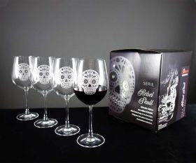 Rebel Skull Strass Gläser mit Geschenkkarton im 4er Set