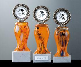 Pokal mit Farbglas orange