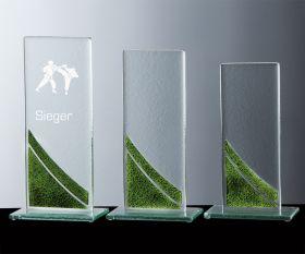 Kristall-Trophäe mit Farbglas-Elementen (grün)