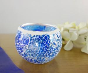 Windlicht aus Glas mit Mosaik in blau