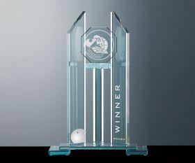 Flachglas Pokal aus grünem Kristallglas
