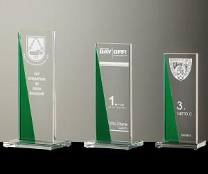 Flachglas Pokale smaragdgrüne Serie