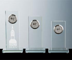 Flachglas Pokale mit Quarzuhr