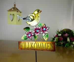 Vogel und Willkommen Gartenstab
