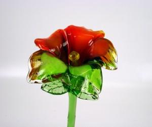 Glasblume grün/rot