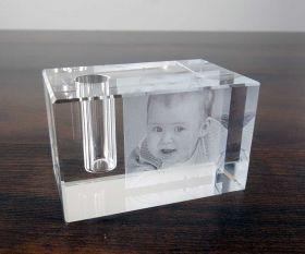 2D-Lasergravur Stifthalter aus Kristallglas