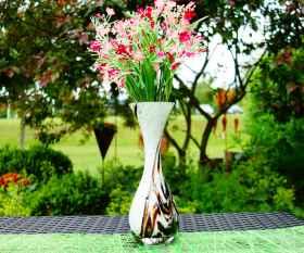 Vase tailliert Glimmer Braun