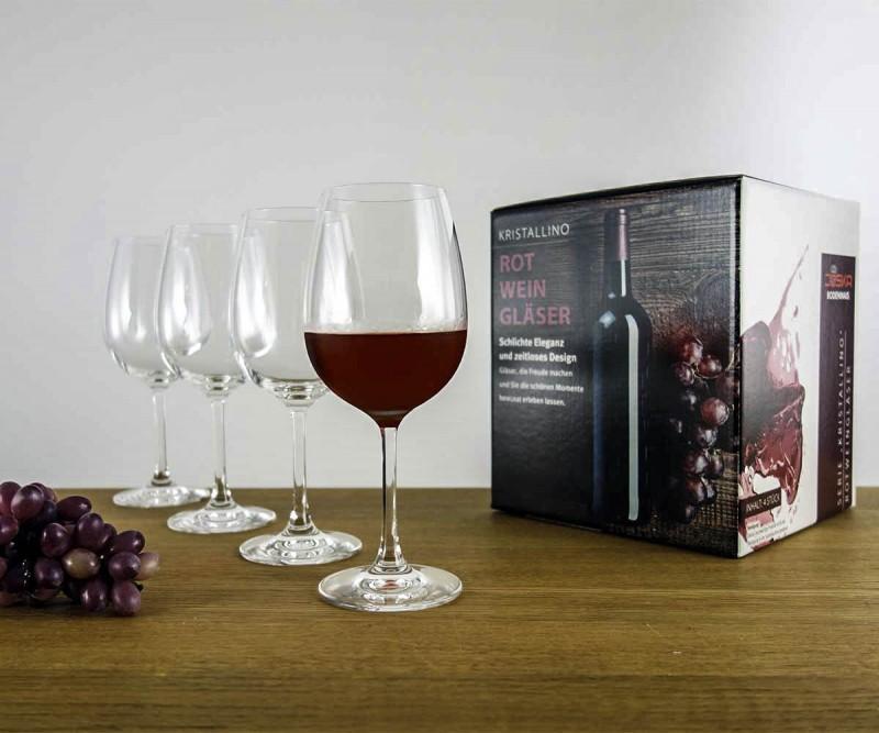 Rotweingläser 4er Set im Geschenkkarton Kristallino
