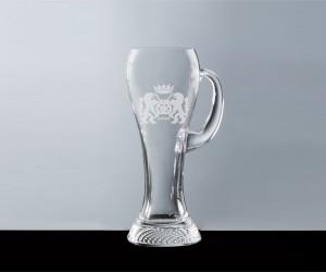 Weißbierglas mit Henkel und Karoboden 0,5l