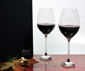 Rotweinset mit Kritallsteinchen