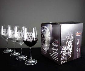 Rebel Skull Strass Red Gläser mit Geschenkkarton im 4er Set