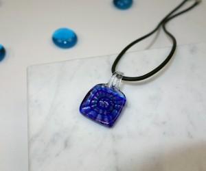 Kinder Halskette quadrat blau