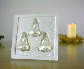 3 Glocken Eislack weiß Baumschmuck