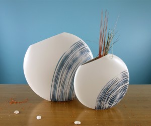 Keramik Vase weiß blau