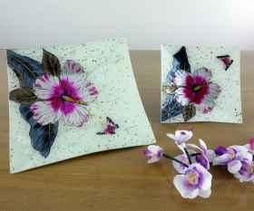 Fusingschale quadratisch mit Blüte
