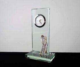 Flachglaspokal mit Uhr und Metallfigur Golfer