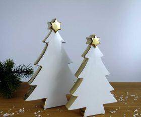 Christbaumsilhouette in Weiß / Gold